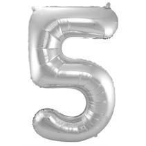 Folat - Folieballon - Cijfer - 5 - Zonder vulling - Zilver - 86cm