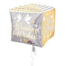 Anagram - Folieballon - Cubes - Wedding wishes - Zonder vulling - 38x38cm