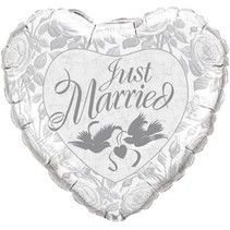 Qualatex - Folieballon - Supershape - Hart - Just married - Wit - Zonder vulling - 91cm