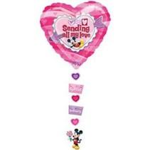 Disney - Folieballon - Supershape - Hart - Sending all my love - Zonder vulling - 86x61cm