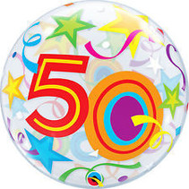 Qualatex - Folieballon - Bubble - 50 Jaar - Zonder vulling - 56cm