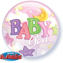 Qualatex - Folieballon - Bubble - Baby girl - Zonder vulling - 56cm