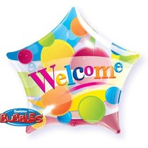 Qualatex - Folieballon - Bubble - Ster - Welcome - Zonder vulling - 56cm