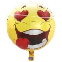 Folat - Folieballon - Emoticon - Crazy love - Zonder vulling - 43cm