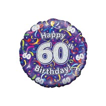 PartyXplosion - Folieballon - Happy 60th birthday - Zonder vulling - 43cm