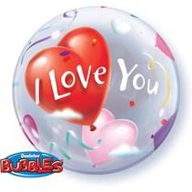 Qualatex - Folieballon - Bubble - I love you - Zonder vulling - 56cm