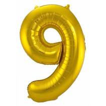 Folat - Folieballon - Cijfer - 9 - Zonder vulling - Goud - 86cm