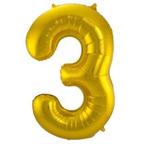 Folat - Folieballon - Cijfer - 3 - Zonder vulling - Goud - 86cm