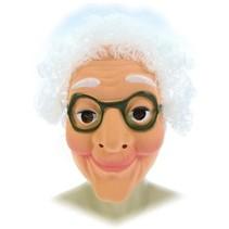 PartyXplosion - Masker - Sarah/oude vrouw - Met wit haar - Plastic