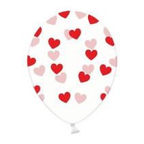 PartyDeco - Ballonnen - Doorzichtig - Rode hartjes