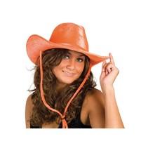 Witbaard - Hoed - Cowboy - Oranje - Velvet
