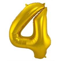 Folat - Folieballon - Cijfer - 4 - Zonder vulling - Goud - 86cm