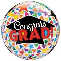 Qualatex - Folieballon - Bubble - Geslaagd - Congrats grad - Zonder vulling - 56cm