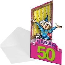 Folat - Uitnodigingskaarten - 8 Stuks - Sarah 50 jaar