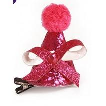 PartyXplosion - Hoed - Mini - Op haarclip - Roze glitter feest hoedje