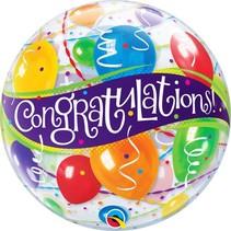 Qualatex - Folieballon - Bubble - Congratulations - Zonder vulling - 56cm