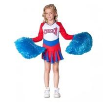Witbaard - Kostuum - Cheerleader - Rood/wit/blauw - mt.140