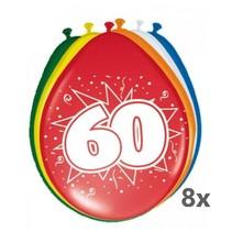 Folat - Ballonnen - 60 Jaar - 30cm - 8st.