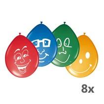 Folat - Ballonnen - Happy smile - 30cm - 8st.