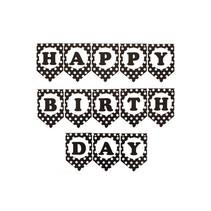 PartyXplosion - Vlaggenlijn - Happy Birthday - Zwart/wit