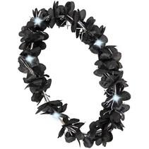 PartyXplosion - Bloemenkrans - Zwart+Zilver - LED lampjes - Hawaii