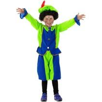 Folat - Kostuum - Piet - Blauw/groen - 3dlg - mt. 104-116