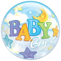 Qualatex - Folieballon - Bubble - Baby Boy - Zonder vulling - 56cm