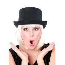 PartyXplosion - Hoed - Hoge hoed - Satijn -  Zwart