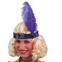 Partychimp - Haarband met veer - Charleston - Paars