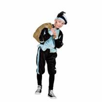 Boland - Kostuum - Zwarte piet - Zwart/blauw - mt.116