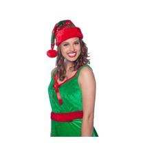 Folat - Kerstmuts - Groen-rood gestreept - Glitter
