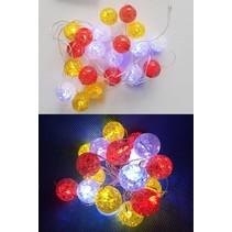 PartyXplosion - LED snoer - Rood/wit/geel - 1m - Incl.batterijen