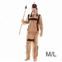 Witbaard - Kostuum - Indiaan - Rood/geel - Luxe - M/L