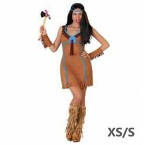 Partychimp - Kostuum - Indiaanse - Bruin/blauw - XS/S