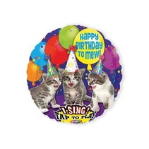Amscan - Folieballon - Happy Birthday - Poezen - Met muziek - Zonder vulling - 71cm