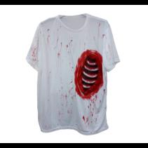 Bladwijzer - Shirt - Open ribbenkast - Wit/bloederig - S