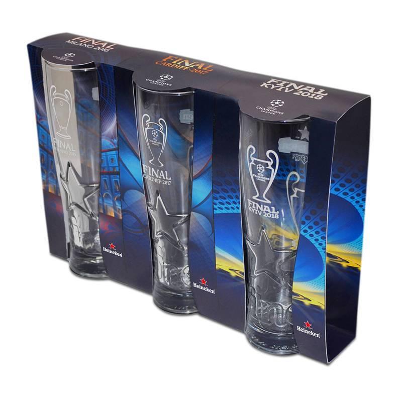 Heineken UEFA Champions League Beer Glass Set with Logos