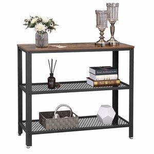 O' DADDY - Home & Living Beistelltisch oder Flurtisch Holz mit Metall | 2 Gitterrostböden | 101,5x35x80cm