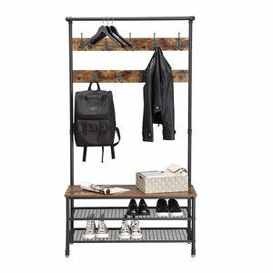 O' DADDY - Home & Living Garderobe | Garderobenständer xxl Schuhablage 6 Paar | Garderobenständer 23 Haken | 100x41x182cm mit verstellbaren Füßen