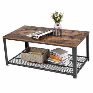 O' DADDY - Home & Living Couchtisch | Couchtisch industriell | rustikal braun mit schwarz | 106.2x60.2x45cm