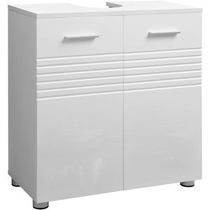 O' DADDY - Home & Living Washbasin pedestal - washbasin cabinet white - double door and adjustable feet - 60x30x63cm