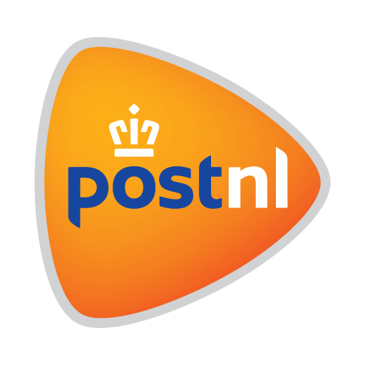 Orange triangle with a white crown and the text Post NL