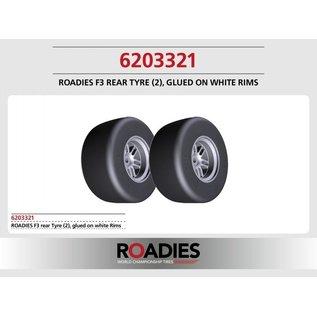 Roadies F1 Slick Tyre (Compound F3) rear, verlijmd op witte velgen