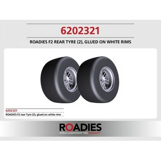 Roadies F1 Slick Reifen Formel (Compound F2) Heck, fertig verklebt auf Felgen, weiß