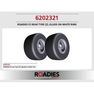 Roadies F1 Slick Tyre (Compound F2) rear, verlijmd op witte velgen