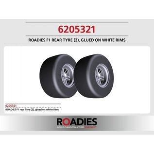 Roadies F1 Slick Tyre (Compound F1) rear, verlijmd op witte velgen