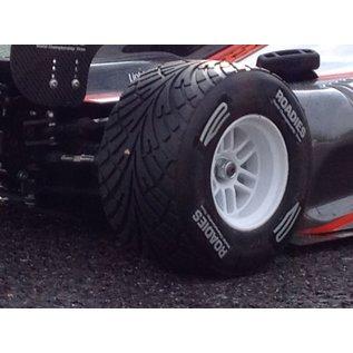 Roadies F1 Rain Tyre Magic (Compound F1) Rear, verlijmd op witte velgen