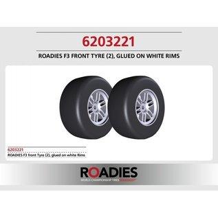 Roadies F1 Slick Reifen Formel (Compound F3) Vorne, fertig verklebt auf Felgen, weiß