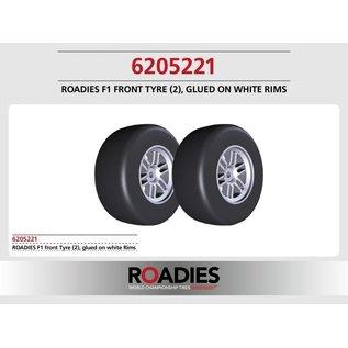 Roadies F1 Slick Tyre (Compound F1) front, verlijmd op witte velgen