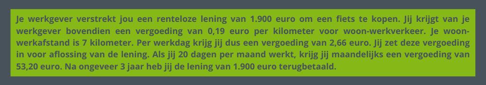 Rekenvoorbeeld zakelijke fiets via renteloze lening
